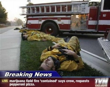 Exhausted and hungry firefighters